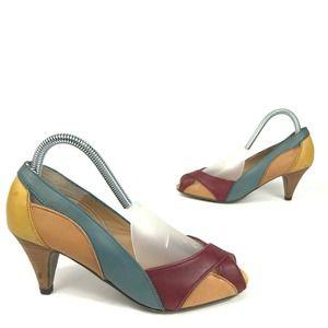 Steve Madden Colorblock Peep Toe Short Heels 7.5